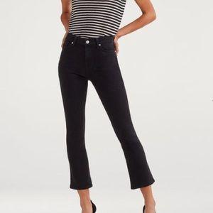 7 for all mankind high waist slim kick black jeans